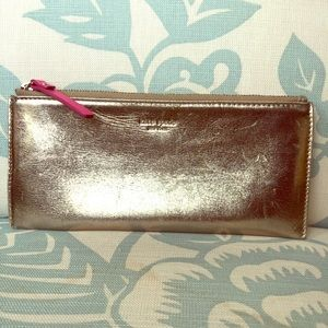 Kate Spade Gold Leather Pencil Case